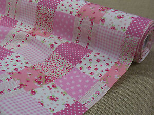 FLORAL PRINT COTTON  FABRIC +++ PATCHWORK + PINK