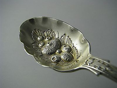 STERLING SILVER BERRY SPOON DESSERT LUNCHEON SPOON Francis Higgins London Ca1879 - $175.00