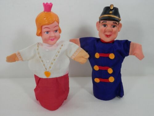 Vintage Hand Puppets 2 German Made Conductor and Queen Plastic Head Cloth Body