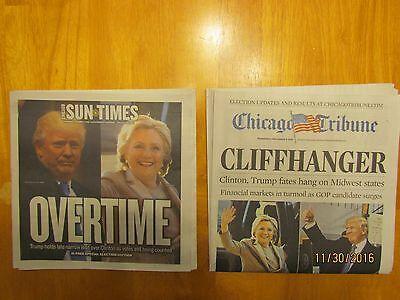DONALD TRUMP 2-NEWSPAPER LOT;CHICAGO TRIBUNE/SUN-TIMES/ NOV 2016 !!