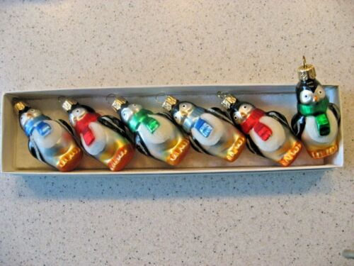 """Vintage Lot of 6 Penguins with Colorful Scarfs Glass Christmas Ornaments 2.25""""T"""