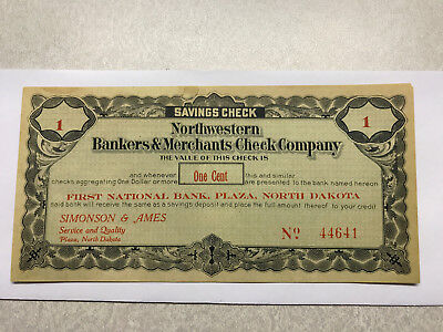 1St Nat  Bank Plaza N D  Northwestern Bankers   Merchants Check Company 1 Cent