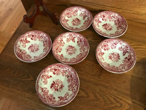 "6 Staffordshire Alfred Meakin Tonquin Red 4 3/4""  Fruit/Dessert Bowls"