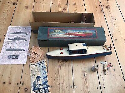 """VINTAGE HORNBY MECCANO NO.5  """"VENTURE""""  CLOCKWORK CABIN CRUISER SPEED BOAT c1935 for sale  Shipping to South Africa"""