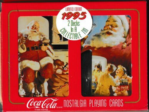 2 Decks Coca Cola 1995 Nostalgia Limited Edition Playing Cards Collectible Tin