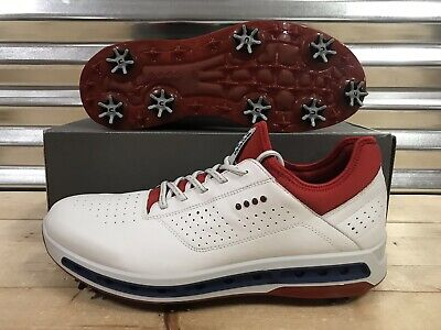 Ecco Leather Golf Shoe - ECCO Golf Cool 18 GTX Gore-Tex Golf Shoes White Red Blue USA SZ ( 130114 50431 )