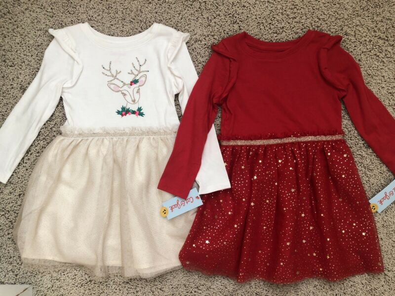 NWT New Cat & Jack 4T Girls Christmas Glitter Red & Deer Reindeer Dresses