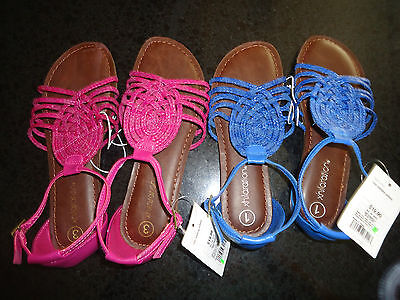 Casual Pink Dress Shoes (Xhilaration Girls Gladiator Casual Dress Shoes Flats Sandals Pink Blue)