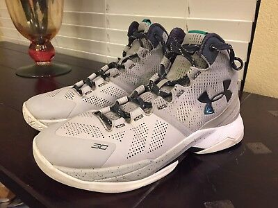 UNDER ARMOUR THE STORM SC BOYS 7Y GRAY LEATHER LACED HIGH TOP SHOES d356322fb