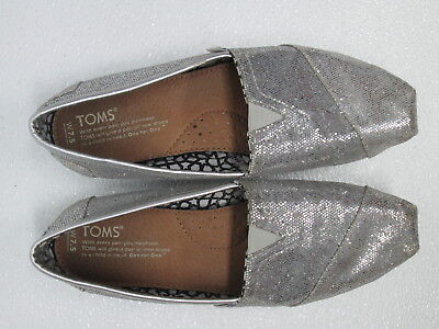 TOMS Women Silver Glitter Sparkle Cotton Flats Slip on  Shoes  Size 7.5 (Sparkle Toms)