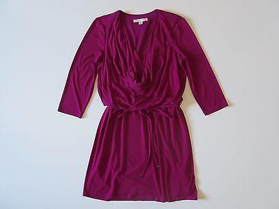 BOSTON PROPER Acai Berry Dark Pink Tie Front Draped Cowl Jersey Blouson Dress 14 Cowl Front Jersey Dress