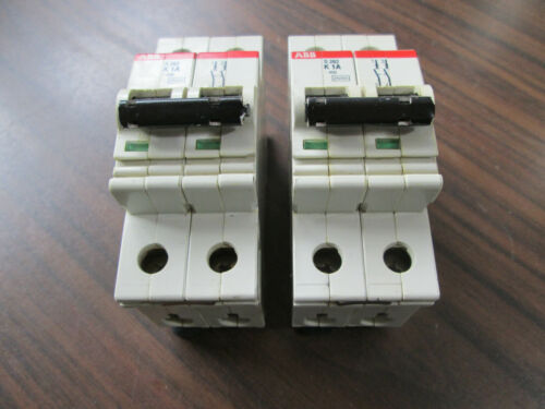Lot of 2 ABB S282K1A Circuit Breakers (2 Pole, 1 Amp)
