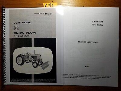 John Deere 82 Snow Plow Blade Hydraulic Lift Owners Operators Manual Parts