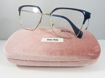 Miu Miu VMU 52O UE6-1O1 Shiny Blue on Gold New Authentic Eyeglasses 52mm w/Case