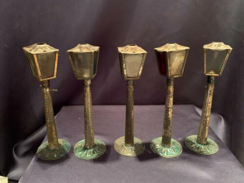 5 Antique Tin Street Lamp Christmas Candle Holders Dollhouse Miniature C1890