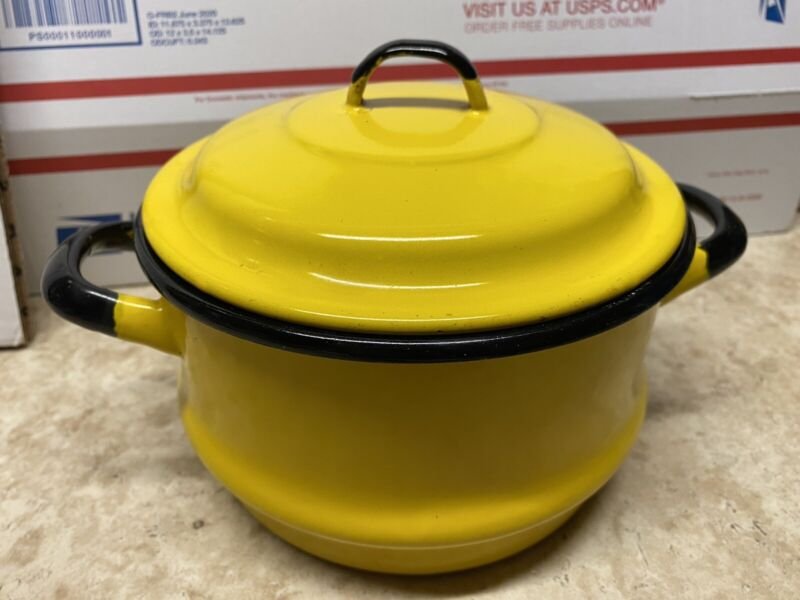 VINTAGE RETRO YELLOW ENAMEL STEAMER POT & LID