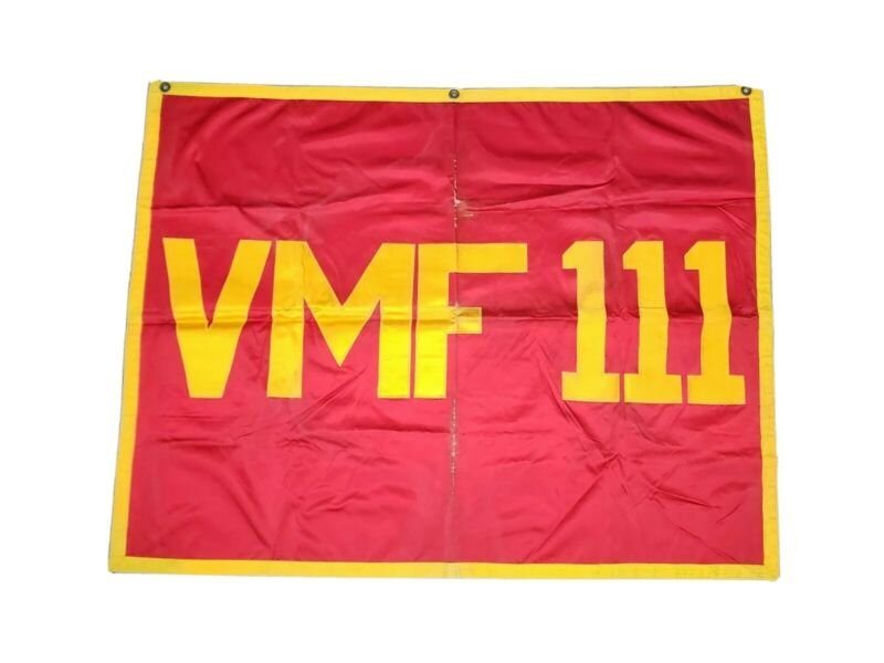 RARE Orig. USMC 1950s Marine Fighting Squadron VMF 111 Korean War Stitched Flag