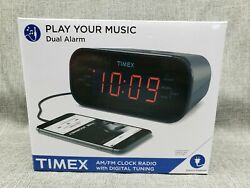 New Timex Am And Fm Dual-Alarm Clock Radio Gunmetal Gray Snooze Big Display