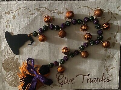 Halloween Wooden Garland Beads. Multi Color With Orange Ornaments.