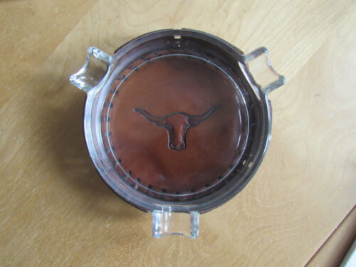 LIBBEY GLASS CO. BAMCO WESTERN BRAND ASHTRAY w/LEATHER HOLDER