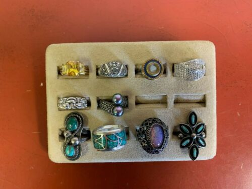 Set Of (10) Sterling Silver Rings Assorted Styles Sizes 7-9.25 Lot #24