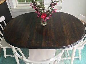 Dining Room Table Set with 4 Chairs Solid Wood Refinished