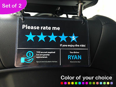 2 X Uber Lyft Tips   5 Stars Rating Display Cards   Custom Made With Your Name
