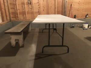 Free bench and table with folding legs