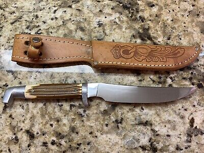 """VINTAGE QUEEN CUTLERY FIXED BLADE KNIFE WITH SHEATH-6"""" BLADE-EXCELLENT-MADE USA"""