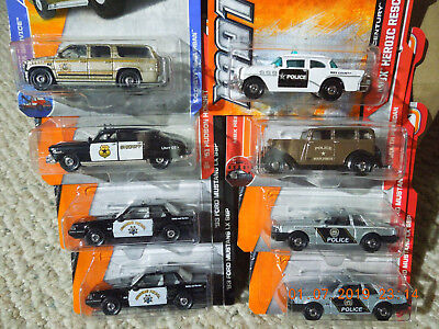 MATCHBOX LOT OF 8 POLICE, SUBURBAN, HUDSON HORNET, MUSTANG (4),BUICK,PLYMOUTH