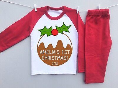 PERSONALISED BABY'S 1st CHRISTMAS toddler pyjamas set xmas pudding cute