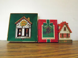 3 LOT 1977 WEATHER HOUSE +HAPPY HOLIDAYS + 1984 OLD WORLD CUCKOO CLOCK Ornaments