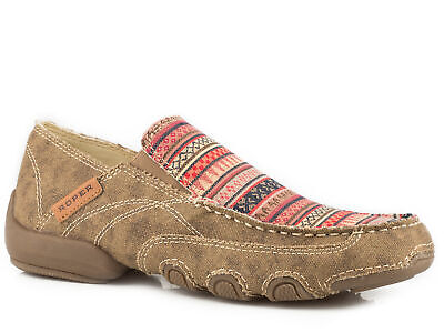Distressed Canvas Slip Ons (Roper SlipOn Womens Tan Canvas Waxy Southwest Distressed Daisy Shoes )