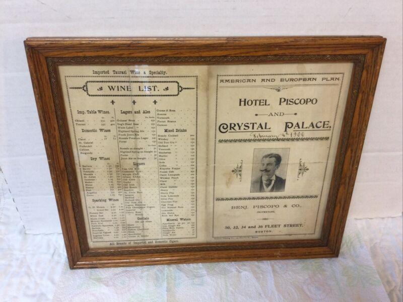 Antique 1900 Era Oak Picture Frame Hotel Piscopo Crystal Palace Boston Mass Menu