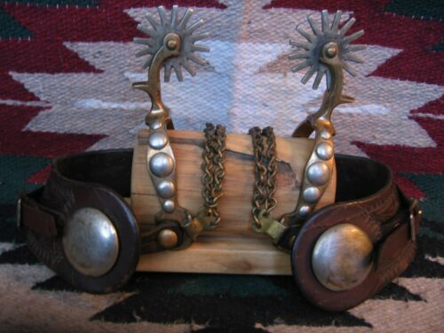 RARE EARLY CALIFORNIA STYLE NORTH & JUDD BRASS 5 SPOT PATENTED SPURS & STRAPS