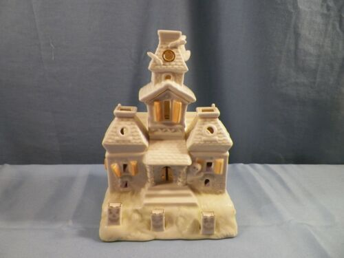 Lenox Porcelain Halloween Battery Operated Lighted Lit Haunted House Figurine
