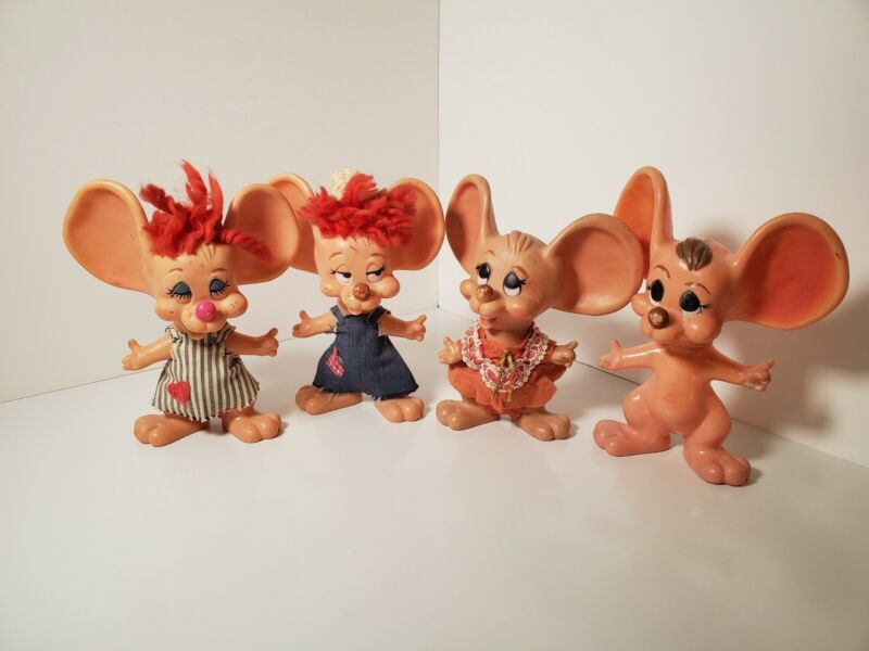 VINTAGE Topo Gigio Huron Products Big Ear Mouse Bank Mixed Lot of 4