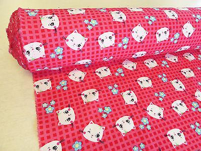 "58"" Pink KITTY CAT GINGHAM FABRIC cotton kids girls craft cute hello daisy 1m"