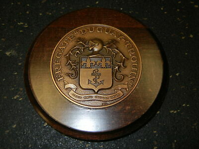Bronze Ship Medal French Figate Duguay Trouin Bronze on Wood