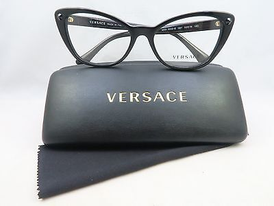 Versace MOD 3222-B GB1 Shiny Black New Authentic Eyeglasses 52mm with Case