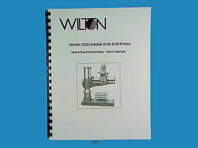 Wilton Model 1230 Radial Arm Drill Press Operator Parts List Manual 332