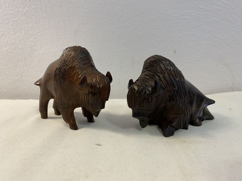 """Unique Hand Carved Ironwiod Buffalo Bison Set 2 Wood Carving 3"""" Figurine"""