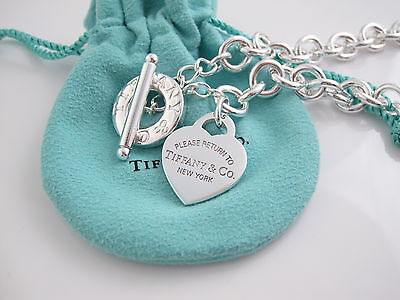 Tiffany & Co Zurück zu Silber Herz Anhänger Kniehebel Halsketten Schachtel