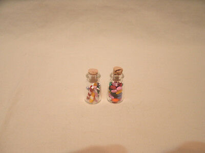 2 Miniature Glass Candy Jars for Dollhouse ~ Barbie or Small Dolls