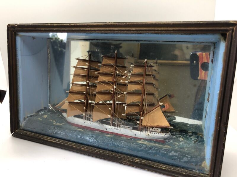 ANTIQUE 19th C FOLK ART SHIP DIORAMA SHADOW BOX CARVED PAINTED WOOD circa 1890's