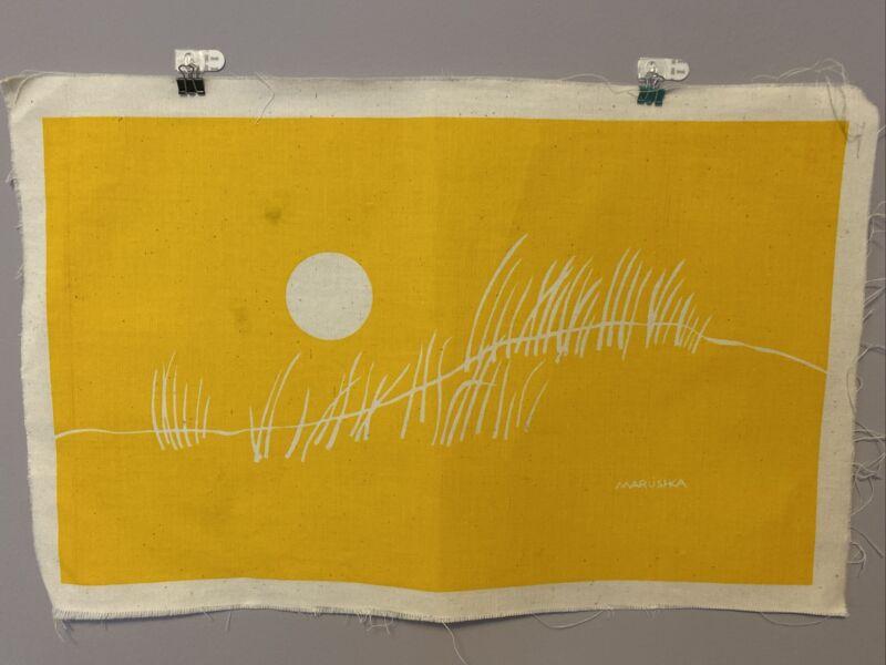 """Vintage Marushka Wall Art Sun & Sand Dune Grass Linen 12.5 """"x 20"""" mid century"""