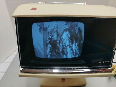 1970's Vintage SHARP 3S-111W Space Age Mid Century Modern Portable TV WORKS