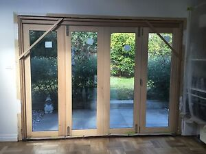 Timber Double glazed Hush glass Bifold Doors x2 sets Brighton East Bayside Area Preview