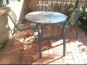 Round Outdoor Glass Table with 4 Seats Kedron Brisbane North East Preview