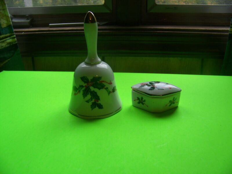 Lefton bell with holly and matching trinket box